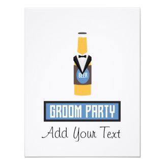 Botella de cerveza del fiesta del novio Z77yx Invitación 10,8 X 13,9 Cm