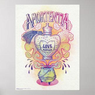 Botella de la poción de amor del encanto el   póster