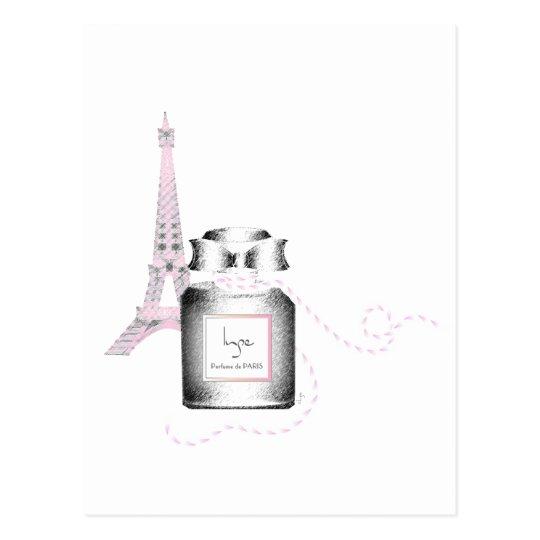 Botella de Parfum con la torre Eiffel y la cuerda Postal