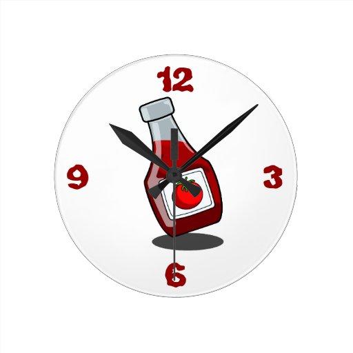 Botella de salsa de tomate del dibujo animado reloj de - Relojes de diseno de pared ...