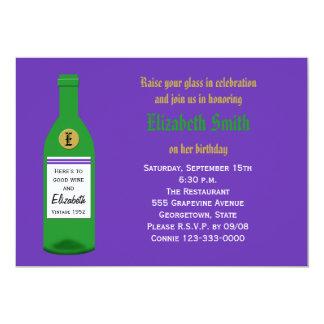 Botella de vino adulta de la fiesta de cumpleaños invitación 12,7 x 17,8 cm