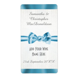 Botella de vino azul claro del boda del arco de la etiquetas de envío