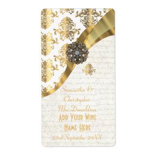 Botella de vino blanca del boda del damasco del etiquetas de envío