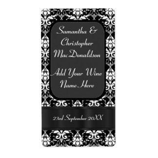 Botella de vino blanco y negro del boda del etiquetas de envío