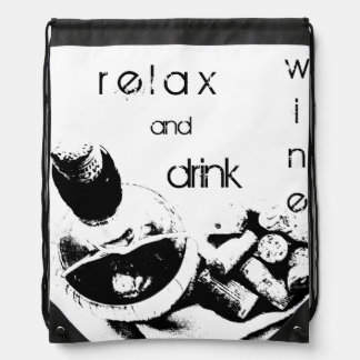 Botella de vino con bosquejo de los corchos mochilas