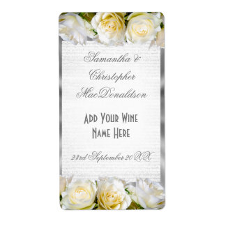 Botella de vino de la bodas de plata floral y del etiqueta de envío
