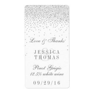 Botella de vino de plata atractiva del boda del etiquetas de envío