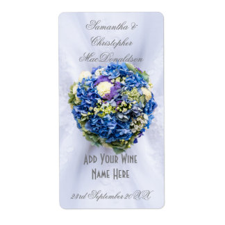 Botella de vino floral azul del vestido de boda de etiquetas de envío