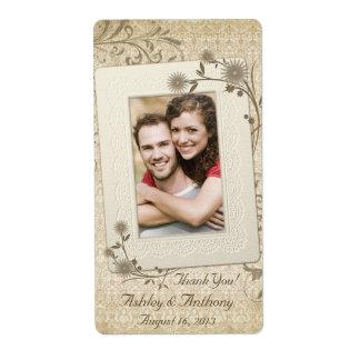 Botella de vino floral del boda de la foto del cor etiquetas de envío