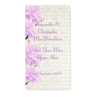 Botella de vino floral del boda de la lila pálida etiquetas de envío