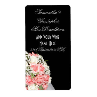 Botella de vino floral del boda de las flores etiquetas de envío