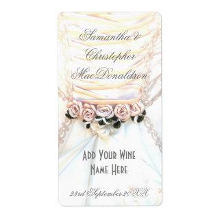 Botella de vino floral del vestido de boda de las etiquetas de envío