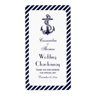 Botella de vino náutica de la BV de la raya 2 de D Etiqueta De Envío