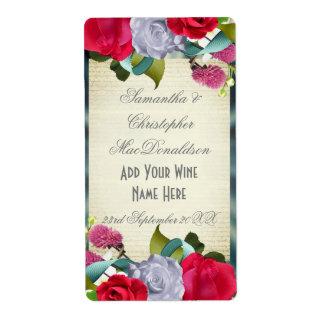 Botella de vino romántica del boda del ramo floral etiqueta de envío
