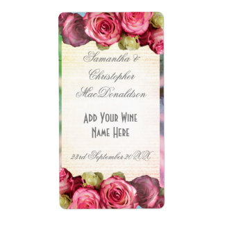 Botella de vino romántica floral color de rosa etiquetas de envío
