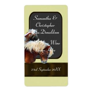 botella de vino temática del boda del caballo y etiquetas de envío