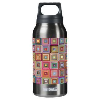 Botella Isotérmica Cuadrados retros abstractos coloridos