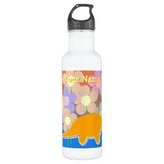 Botella linda del dinosaurio de la flor