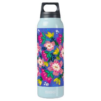Botella rosada del trullo de las floraciones