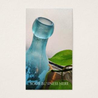 Botella, ventana floral de las botellas de cristal tarjeta de visita
