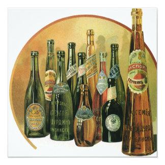Botellas de cerveza importadas vintage, alcohol, invitación 13,3 cm x 13,3cm
