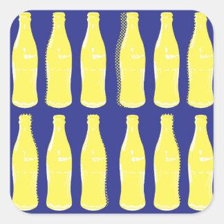 Botellas de estallido amarillas del vintage pegatina cuadrada