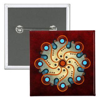 Botón abstracto floral azul del arte del vector (c
