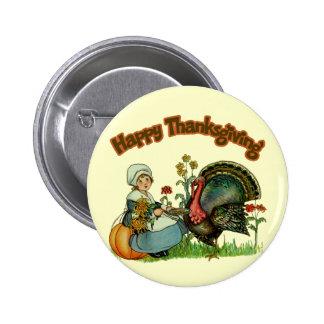 Botón - acción de gracias feliz