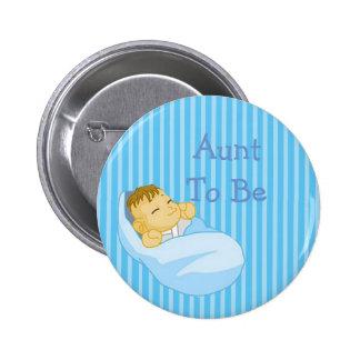 Botón azul de la fiesta de bienvenida al bebé de