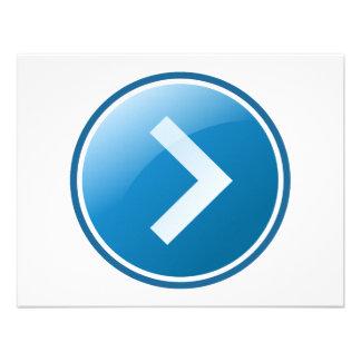 Botón azul de la flecha - derecho