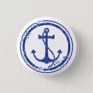 """Botón azul del ancla del vintage náutico - 1,5"""""""