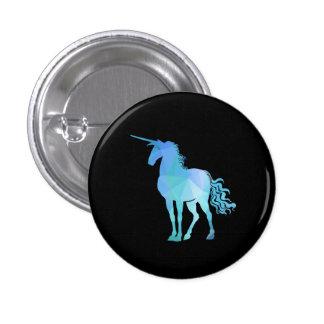 Botón azul del unicornio del polígono