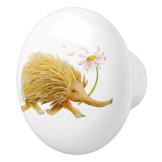 Botón banal del arte de la acuarela animal del pomo de cerámica