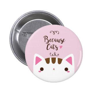 """Botón blanco del gato, """"porque los gatos"""" abotonan"""