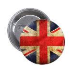 Botón británico de la bandera del Grunge centrado Pins