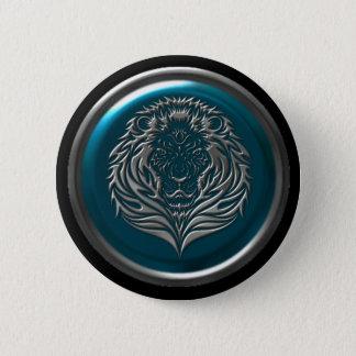Botón céltico del león del hierro azul