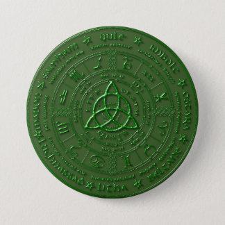 Botón céltico del zodiaco de la tierra esmeralda