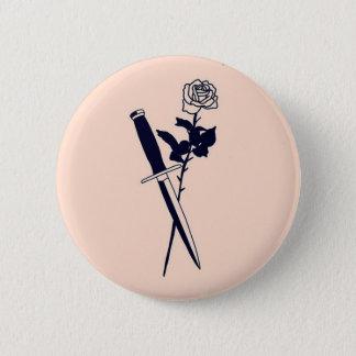 Botón color de rosa y del cuchillo del ~
