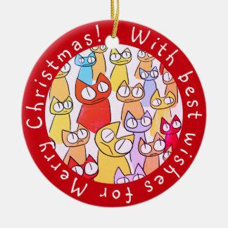 Botón colorido de los gatos de la porción el mirar adorno navideño redondo de cerámica