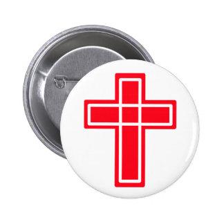 Botón cristiano cruzado rojo y blanco pin