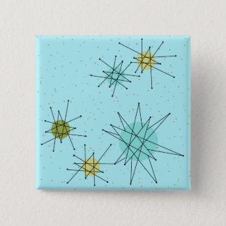 Botón cuadrado atómico azul de Starbursts del