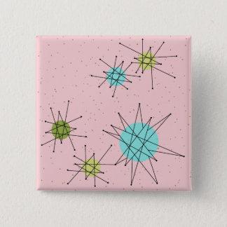 Botón cuadrado atómico icónico rosado de