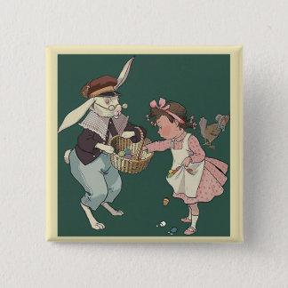 Botón cuadrado de Pascua del vintage lindo