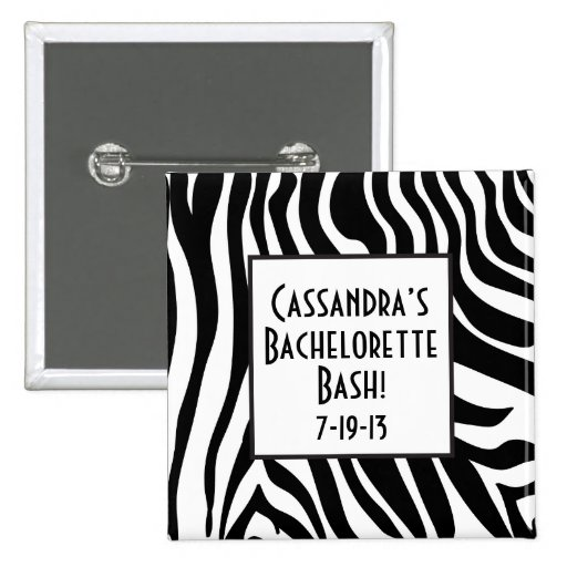Botón de Bachelorette del estampado de zebra Pin