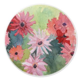 Botón de cerámica rosado y verde del verano pomo de cerámica
