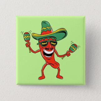Botón de Cinco de Mayo de la pimienta del baile