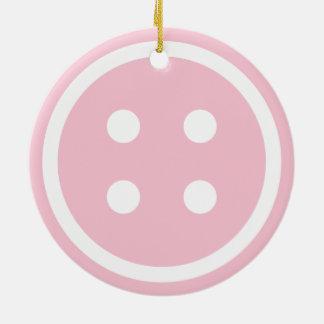 Botón de costura rosado lindo adorno navideño redondo de cerámica