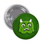 Botón de cuernos verde del monstruo pin