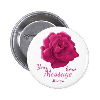 Botón de encargo del texto de la flor rosada