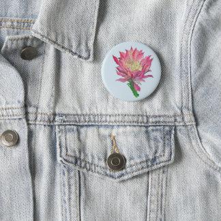 Botón de estampado de flores rosado del cactus de